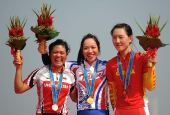 图文:公路自行车女子个人赛颁奖 获奖选手合影