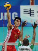 图文:男排排名赛中国3-0沙特 陈平重扣瞬间
