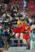 图文:亚运男子110米栏 夺冠后庆祝