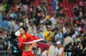 图文:男子110米栏 刘翔庆祝夺冠