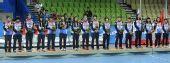 图文:女子手球颁奖仪式举行 韩国队获得铜牌