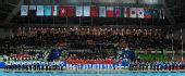 图文:女子手球颁奖仪式举行 领奖台上的全景