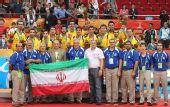 图文:亚运男篮颁奖仪式 伊朗队球员与教练