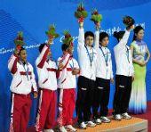 图文:藤球男子双人颁奖仪式 印尼日本并列季军
