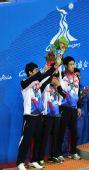 图文:藤球男子双人颁奖仪式 韩国队获得亚军