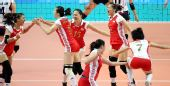 图文:中国女排庆祝亚运四连冠 获胜瞬间的特写