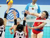 图文:亚运女排决赛中国3-2韩国 王一梅重扣