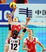 图文:亚运女排决赛中国3-2韩国 马蕴雯快攻