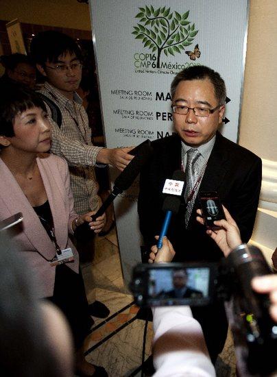 11月29日,中国代表团副团长苏伟在墨西哥坎昆举行的联合国气候变化会议开幕式后接受媒体采访。