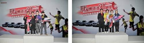 东风雪铁龙北京大区主任陈庆丰分别与北京大区男子、女子冠亚季军的合影