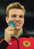 图文:短池世锦赛男400自 比德尔曼笑容灿烂