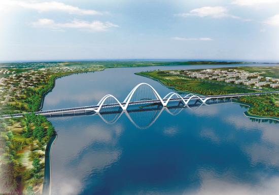 拱桥-沈阳东部跨浑河大桥 汽博大桥开建