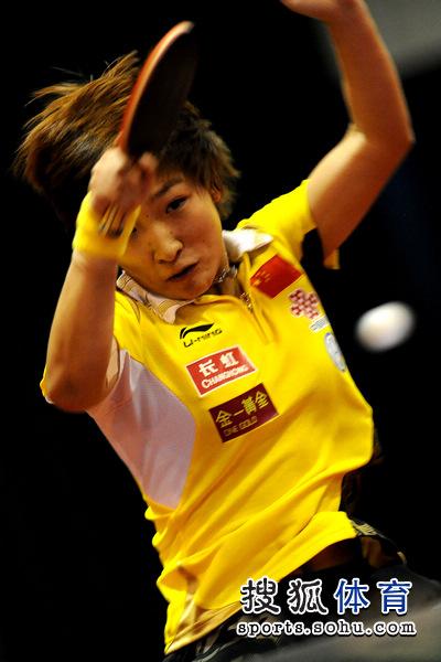 图文:女乒直通鹿特丹选拔赛 刘诗雯在比赛中