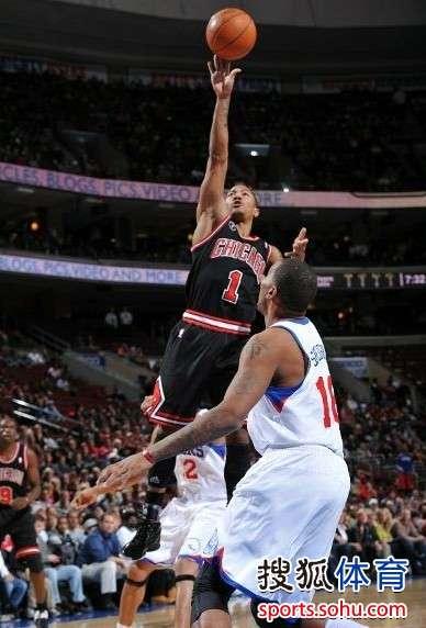 罗斯/图文:[NBA]公牛VS76人 罗斯内线抛投