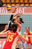 图文:北京女排3-0北航 闭着眼睛上