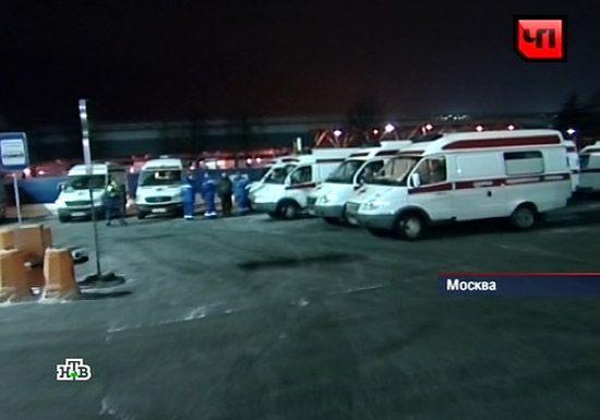 大量救护车赶到机场。