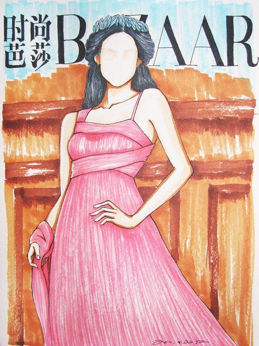 网友手绘的女星时尚杂志封面 超有才(组图)