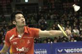 图文:韩国羽毛球超级赛决赛 林丹反拍回球