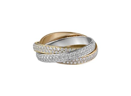 卡地亚Trinity三色金系列镶钻石戒指