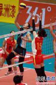 图文:天津女排3-0上海 马蕴雯拦殷娜
