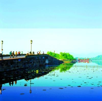 西湖断桥.传说白娘子与许仙在此相会.图片