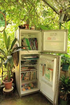 由旧雪柜变做书柜的设计,大家不妨参考一下。