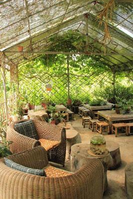 露天茶棚简约环保,让你静静坐下�l听大自然的声音。