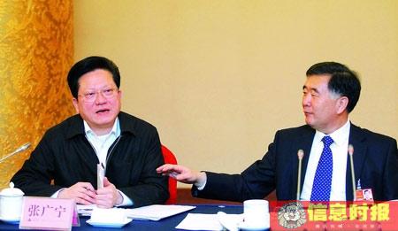 昨日,汪洋和张广宁参与广东代表团讨论. 顾展旭 摄