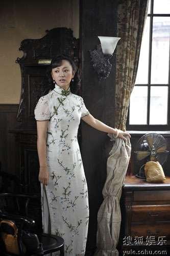 罗海琼着淡色旗袍显优雅