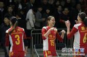 图文:[女排]恒大3-1上海 汤姆洛根笑开花