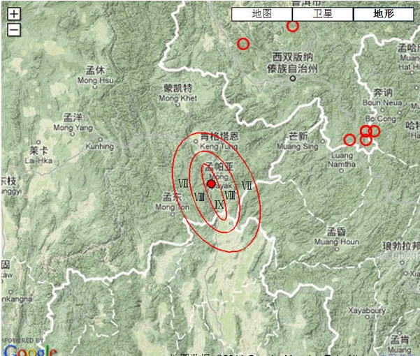 中国东海附近地震