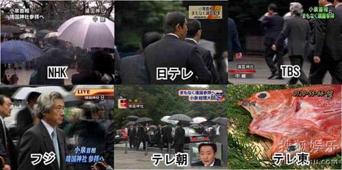 小泉纯一郎参拜靖国神社时日本各电视台截图