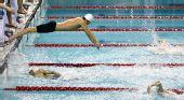 图文:2011全国游泳冠军赛收官 交接棒瞬间