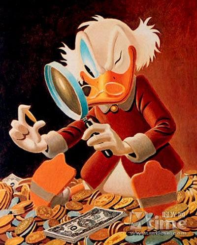第一名史高治-麦克老鸭,资产净值441亿美元,出自《唐老鸭》图片