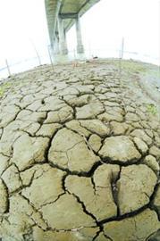 岳阳洞庭湖大桥附近水域大面积干涸的湖床 新华社现场图片