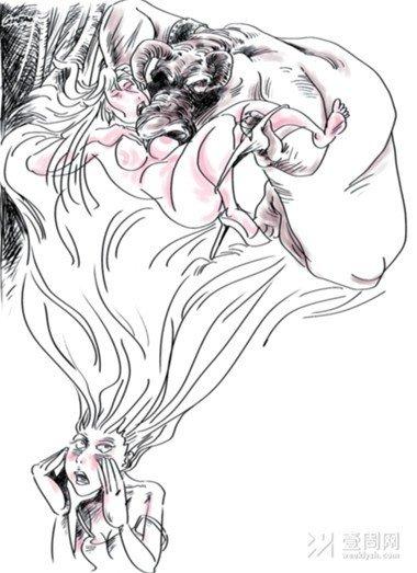 古装孕妇铅笔手绘