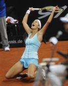 图文:WTA保时捷赛半决赛 格尔格斯庆祝
