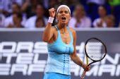 图文:WTA保时捷赛半决赛 格尔格斯怒吼