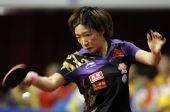 图文:世乒赛热身赛女单决赛 刘诗雯杀气毕露