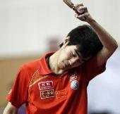 图文:世乒赛热身赛男单决赛 闫安有点累了