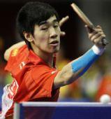 图文:世乒赛热身赛男单决赛 闫安在决赛中