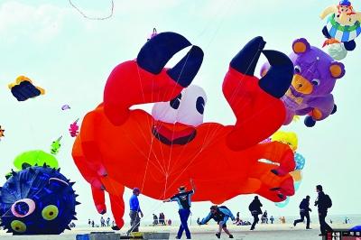 法国风筝节,各种动物造型的风筝