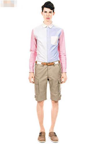 粉红×粉蓝×白色恤衫$2,700、卡其色短裤$3,300
