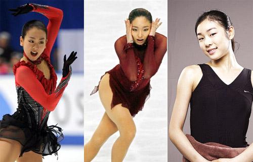 从左至右分别为浅田真央,安藤美姬,金妍儿