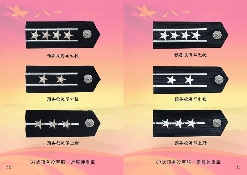 07式预备役军服-海军预备役常服硬肩章(左)和常服软肩章(右)-图图片