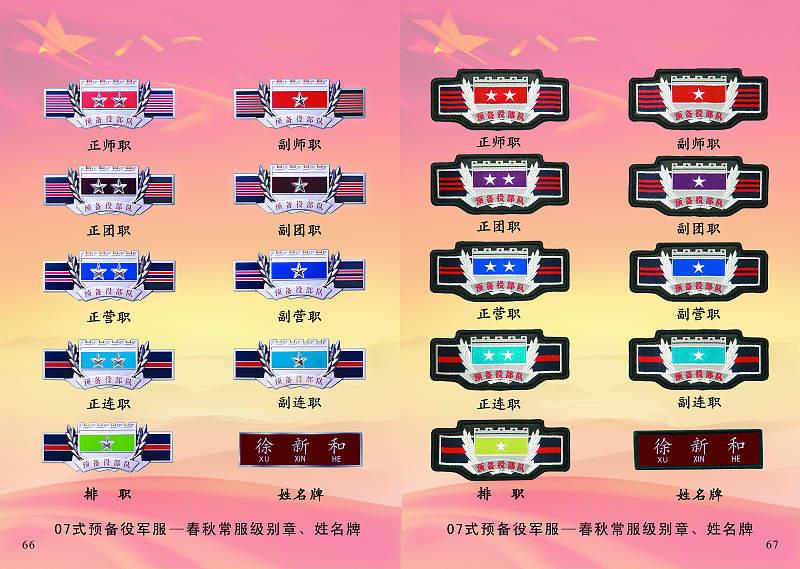 07式预备役军服-春秋常服级别章、姓名牌-图解07式预备役新军服图片