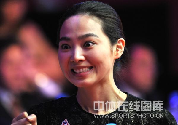 图文:9球北京赛女子决赛 车侑蓝表情夸张