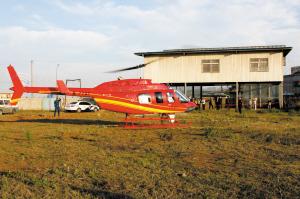 为输电线路作航空巡检的直升飞机供图