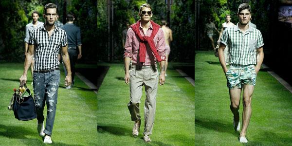 D&G 2011年春夏系列发布会大幅选用单色的格子