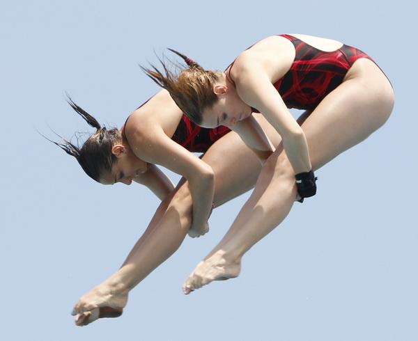 图文:美国跳水赛决赛首日 威尔组合女双夺冠